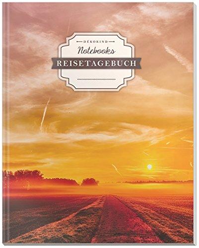 DÉKOKIND Reisetagebuch zum Selberschreiben | DIN A4, 100+ Seiten, Register, Vintage Softcover | Auch als Abschiedsgeschenk | Motiv: Sunset