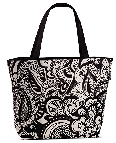 Shopper Tragetasche mit viel Stauraum Strandtasche Umhängetasche Stoff Tasche floral schwarz-weiß