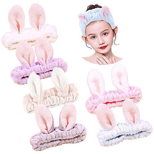 Diadema de Maquillaje CHEPL 6 Piezas Diadema Elástica de La Felpa Pelo Bandas Orejas de Conejo Suave Diademas Mujer para Lavar La Cara Ducha Deportes Belleza