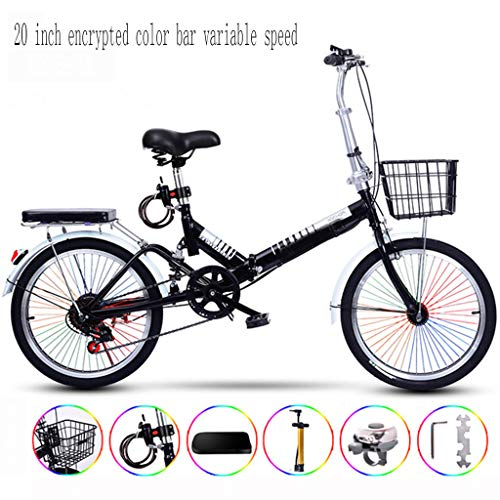 Ultralight Portable Folding Bike for Adults with Self Installatie 20 Inch Gecodeerde Color Bar Varlable Speed,Black