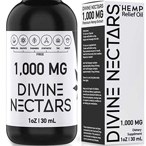 Hemp Oil Drops by Divine Nectars Organic Hemp Oil 1000MG Hemp Oil for Pain Stress Relief & Mood Support, Anxiety Relief, Joint Support and Sleep Aid MCT Oil Natural Premium Hemp Extract Omega 3 6 9