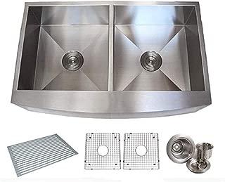 Drop in Sink 36 Inch 16 Gauge Double Stainless Steel Front Farmhouse Apron Kitchen Sink Zero Radius Design pppp1022