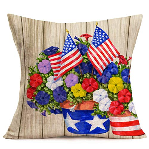 American Flag Flower Pillow Cover Retro Wood with Navy Red The Stars and Stripes Poppy Floral Leaf Throw Pillow Covers 18x18 Inches Cotton Linen Home Independence Day