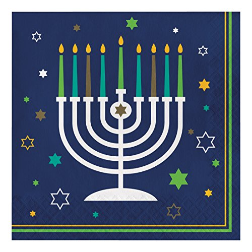 Creative Converting 317192 16 Count Paper Lunch Napkins, Hanukkah Icons