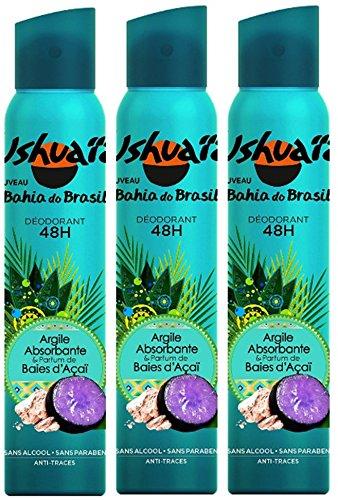Ushuaïa - Déodorant Femme Atomiseur Bahia Do Brasil Argile Absorbante & Parfum Baie d'Açaï Efficacité 48h - 200 ml - Lot de 3
