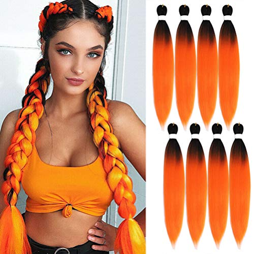 UHair Ombre Easy Braid Pre Stretched Braiding Hair Orange 24 Inch Yaki Texture EZ Crochet Braids 8 Packs Hot Water Setting Synthetic Hair Extension for Braids