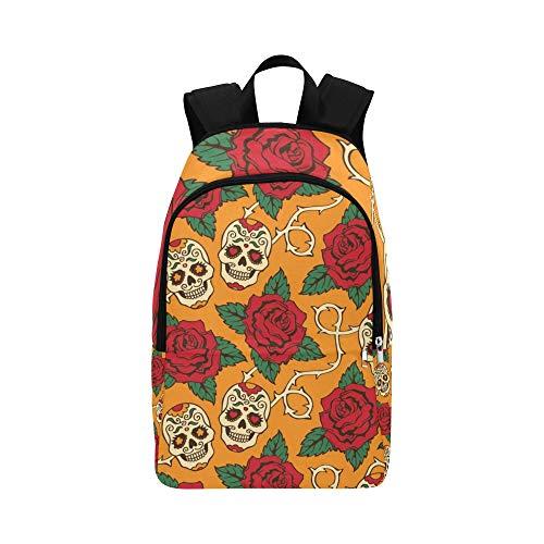 ZXWXNLA Best Bookbag Gothic Fashion Festival Rose Flowers Skull Durable Water Resistant Classic Travel Toiletry Bag for Women Daypack for Women Backpacks Daypack Day Hike Backpack
