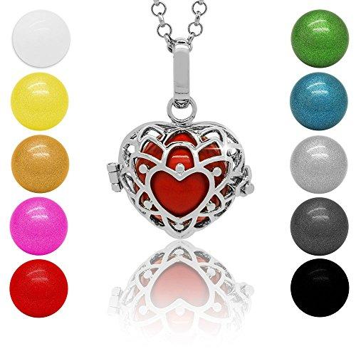 SoulCats® Klangkugel Kette Engel Rufer Ball Angel Anhänger Glöckchen Glücksbringer, Farbe:Silber