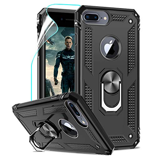 LeYi Custodia iPhone 7 Plus/8 Plus,iPhone 6s Plus/6 Plus Cover, 360° Girevole Regolabile Ring Armor Bumper TPU Case Supporto Silicone Custodie con HD Pellicola Per Apple iPhone 6/6s/7/8 Plus Case Nero