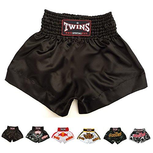 Twins Special Muay Thai Boxing Shorts (Plain Black XL)