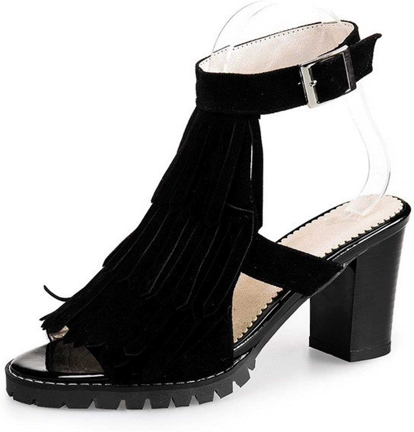 WeenFashion Women's Kitten-Heels Frosted Solid Buckle Open Toe Sandals