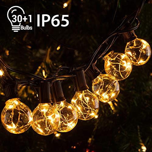 Quntis 11,7M IP65 LED Lichterkette Außen, 30er G40 Glühbirnen E12 Warmweiß+1 Ersatzglühlampe, 155 LEDs, Wasserdicht Outdoor/Indoor Deko Licht mit Stecker für Party Garten Balkon Terrasse Hof Zelt Café
