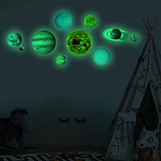 Yuehuam Glow in The Dark Planets, Bright Luminous Solar System Wall Sticker Sun Earth Mars Home Decor for Children Room Be...