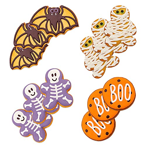 Vanilla handmade decorated cookies - Halloween Collection. 12 individually wrapped and hand decorated iced sugar cookie assortment. Bright colors. Great Birthday and Holiday, Gift School Snack