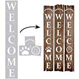Welcome Sign, Stencils for Painting on Wood Reusable, Own DIY Projects, Gifts and More, Easy to Use Large Letter Stencil – Horizontal and Vertical, Set of 4 Pieces (Welcome Stencil)