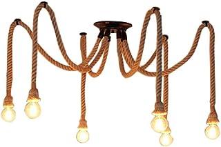 Araña de cuerda de cáñamo Estilo vintage sala de estar comedor bar balcón/iluminación no incluye bombillas