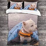 AIMILUX Funda Edredón,West Highland White Terrier Perro Westie vistiendo Chaleco Salvavidas en Kayak en la Bahía de Islas Paihia Nueva Zelanda NZ,Ropa de Cama Funda Nórdica,1(220x240cm)+2(50x80cm)