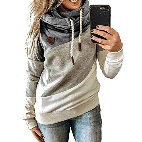 CawBing Frauen Color Block Hoodies Lässig Winter Warm Pullover Damen Langarm Tops Grau M