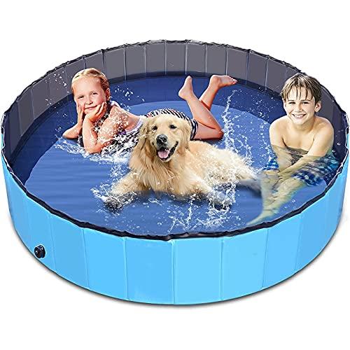 Piscinas plegables para perros Piscina para perros y mascotas Piscina plegable para perros Piscina para mascotas Tina de baño Piscina plástico duro para niños, para perros, gatos, niños (160 × 30 cm)