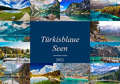 Türkisblaue Seen (Wandkalender 2021 DIN A2 quer)