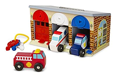 Melissa & Doug Lock and Roll Rescue Garage - 3 Wooden Vehicles, Garage With Locking Door and Keys