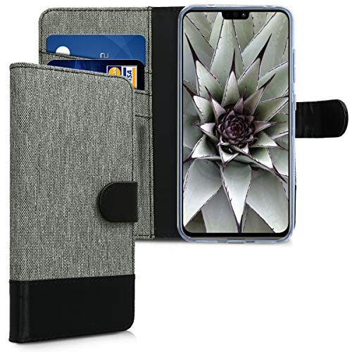 kwmobile Hülle kompatibel mit Huawei Honor 8X - Kunstleder Wallet Hülle mit Kartenfächern Stand in Grau Schwarz