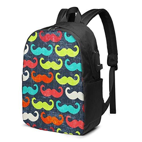 Laptop Backpack with USB Port Blue Red Orange Green Moustache, Business Travel Bag, College School Computer Rucksack Bag for Men Women 17 Inch Laptop Notebook