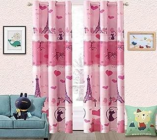 Fancy Linen 2 Panel Curtain Set with Grommets Girls Paris Eiffel Tower Hearts Pink Grey New # Paris