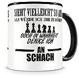 Samunshi® Schach Tasse mit Spruch Geschenk für Mann Frau Oma oder Opa Kaffeetasse groß Lustige Tassen zum Geburtstag schwarz 300ml