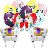 Amycute 12 pcs Globo de Papel de Aluminio de Ovejas Alpaca, Globo de Latex Color, Suministros de Fiesta Llama para Fiesta de cumpleaños Baby Shower y Llama Fiesta temática