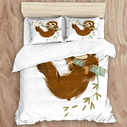 MIGAGA2 Duvet Cover Set,Sloth Happy Cheerful Animal Swinging on Tree Branch Hand Drawn Cartoon,Decorative 3 Piece Bedding Set with 2 Pillow Shams, Queen Size