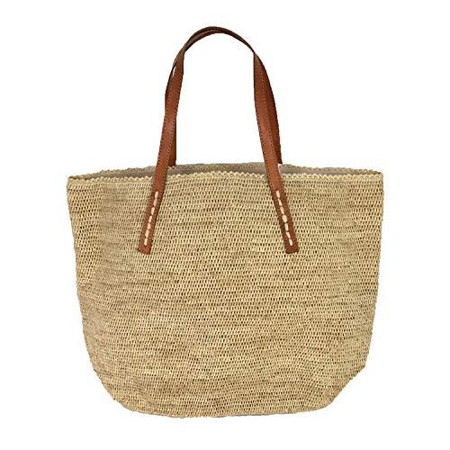 Mar Y Sol Portland Crocheted Raffia Carryall Tote Bag, Natural