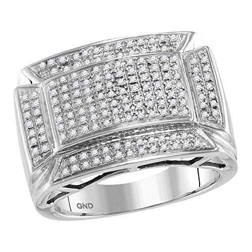 Diamond2Deal Hombre Mujer Unisex 417 Gold oro blanco de 10 quilates round-shape G-H Diamante blanco
