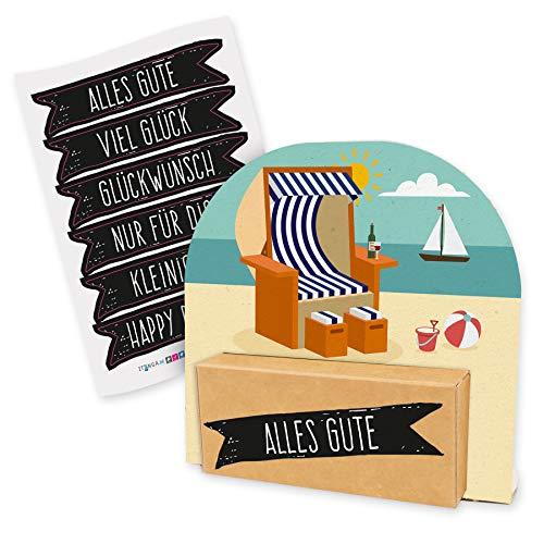 itenga Geldgeschenk oder Gutschein Verpackung Geschenkaufsteller Motiv/Anlass Strandkorb Urlaub mit Stickerbogen aus Karton 12x11,5cm