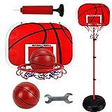 LIOOBO Set de Baloncesto para niños Lifting Basketball Frame Racks Stand Metal Training Shot con 2 Basketball 1.7m