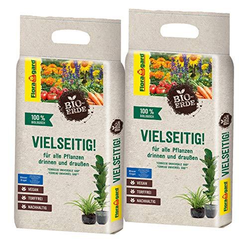 Floragard Bio-Erde Vielseitig 2x3 Liter - Universalerde für alle Pflanzen drinnen und draußen - torffrei und vegan