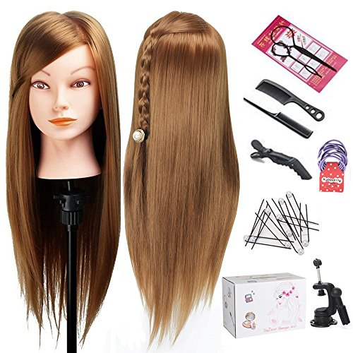 Mannequin Head with Hair, TopDirect Hair Mannequin Manikin Head Hair Practice Cosmetology Hair Doll Head Styling Hairdressing Training Braiding Heads 20 Inch Long with Clamp Holder and Tools