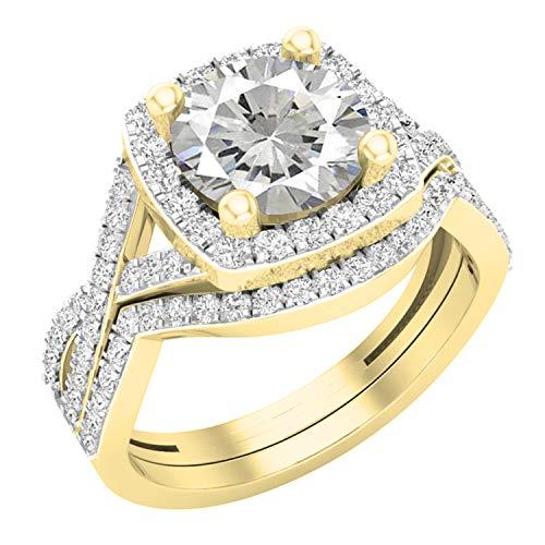 Dazzlingrock Collection - Juego de anillos de boda de 8 mm con piedras redondas y circonitas cúbicas blancas, con halo dividido, oro amarillo de 10 quilates