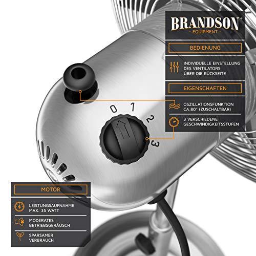 Brandson - Standventilator mit Oszillation 80° im Chrom-Design | 30 cm Rotor | hhenverstellbarer Standfuß | 3 Geschwindigkeiten | 30° neigbar | Ventilator Standlfter | GS-Zertifiziert