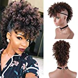 AISAIDE Wig Short Afro Kinky Curly Ponytail Hairpiece and Bangs Clip in on Synthetic Curly Hair Bun Made of Kanekalon Fiber Puff Ponytail Wrap Updo Hair Extensions with Clip (T1B/33#)