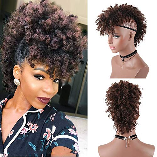 Aisaide HighPuffAfroPonytailDrawstring,Short Curly Ponytail Extension,Mohawk Kinky Synthetic Hair Bun with Bangs,Wrap Updo Clip in Hair Extensions with Six Clips and Two Comb(T1B/33#)