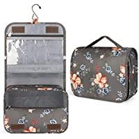 Maliton Travel Toiletry Bag with Hanging Hook (Flower)