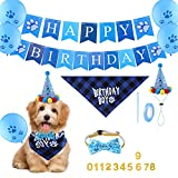 SAVITA Compleanno Cane Accessori Forniture per Feste di Compleanno per Animali Domestici Bandana, Papillon, Biglietti per Striscioni, Palloncini, Compleanno Cani Bandana per il Compleanno del Cane