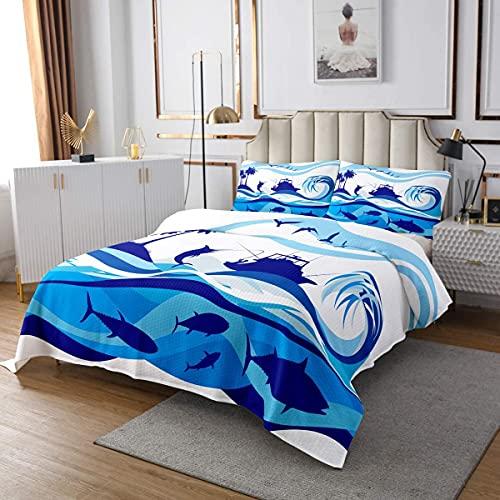 Nautical Coverlet Shark Bedspread Palm Tree Pirate Boat Sea Animal Ocean Wave Coverlet Set for Kids Boys Teens Living Room Decor, Blue