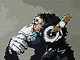 YXQSED Madera enmarcada DIY Pintura por Números Pint por Número de Kits for Adultos Mayores Avanzada Niños Joven-La música Mono 16x20 Inch