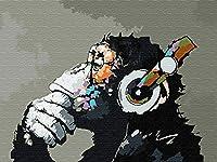 YXQSED フレームレス油絵 数字キットによる絵画 塗り絵 大人 手塗り40x50CM センチ 音楽とモンキー