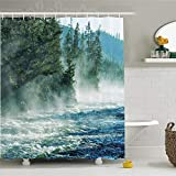 CHENHAO Shower Curtain Washable Yellowstone Decor Set Fog On Yellowstone River Alpine Trees by The Bank Wilderness Waterscape Waterproof 200X240cm