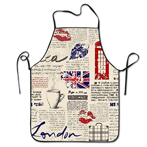 Britische Zeitung Unisex Anti Dirt Schürze Barbecue Schürze für Chefkoch Küche Restaurant Cafe Studio