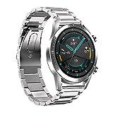 Fesjoy Correa de Reloj de 22 mm Correa de Reloj de Acero Inoxidable Reemplazo de Pulsera Compatible con Huawei Watch GT2 46 mm/Honor MagicWatch2 46 mm/Honor MagicWatch