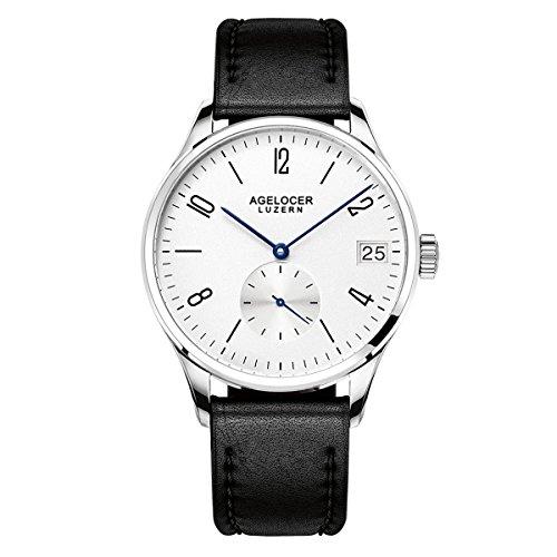 Agelocer Reloj Analgico Automtico para Hombre con Correa en Cuero 1102D1-SS-Whi-Stick